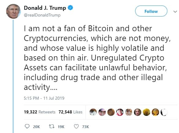 tweet trump tentang bitcoin